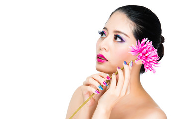 bright flower and rainbow style model
