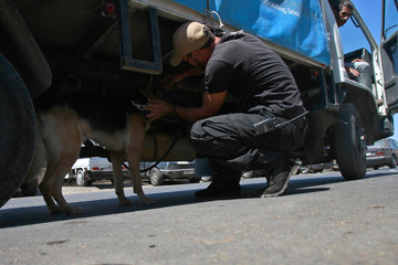 An Islamist man holds a sniffer dog as he checks a truck in Lebanon's northern city of Tripoli,