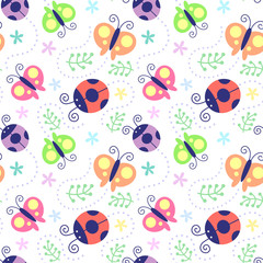 Vector illustration seamless pattern with Ladybug and butterfly