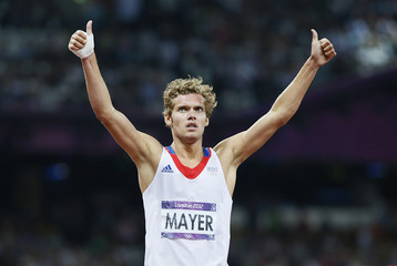 France's Kevin Mayer celebrates winning his men's decathlon 1500m heats during the London 2012 Olympic Games