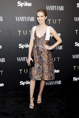 "Actress Zoey Deutch poses at a cocktail party hosted by Vanity Fair and Spike TV to celebrate Spike's new event series ""Tut,"" at Chateau Marmont in West Hollywood"