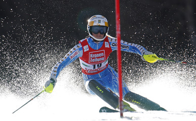 Sweden's Wikstroem speeds down during the Slalom race at the alpine ski World Cup finals in Schladming