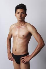 attractive male body with black underwear