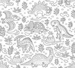 Dinosaurs ink seamless pattern. Coloring book page