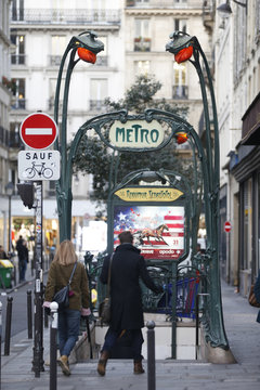 A Metro sign is seen at Reaumur Sebastopol station in Paris