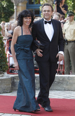 German Interior Minister Friedrich and his wife Annette arrive for opening of Bayreuth Wagner opera festival in Bayreuth