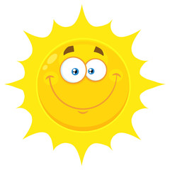 Smiling Yellow Sun Cartoon Emoji Face Character With Happy Expression. Illustration Isolated On White Background