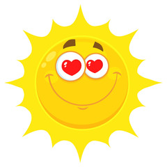 Loving Yellow Sun Cartoon Emoji Face Character With Hearts Eyes. Illustration Isolated On White Background