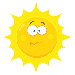 Confused Yellow Sun Cartoon Emoji Face Character With Nervous Expression.  Illustration Isolated On White Background