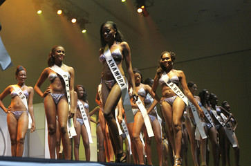 Contestants pose with their swim suits during the Most Beautiful Girl in Nigeria (MBGN) 2010 beauty pageant in the commercial capital Lagos