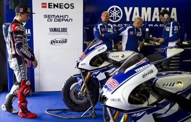 Yamaha MotoGP rider Lorenzo of Spain walks in his garage during the Spanish Grand Prix in Jerez de la Frontera