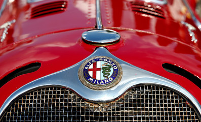Old company logo is seen at an Alfa Romeo 6 C SS Corsa sports car is seen during race demonstration in Zurich's Oerlikon suburb