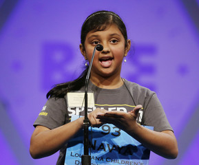 Navya Murugesan of Baton Rouge, Louisiana spells during round two of the preliminaries at the Scripps-Howard National Spelling Bee at National Harbor