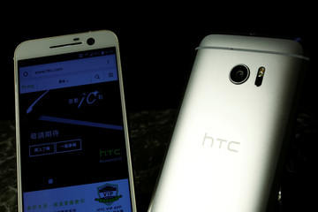 HTC 10 Android-based smartphones are displayed during their launch event in Taitung, Taiwan
