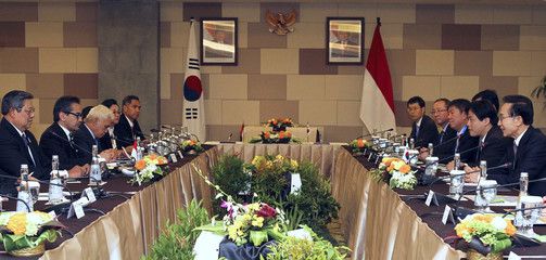 President Lee of South Korea holds bilateral meeting with Indonesia's President Yudhoyono on the sidelines of ASEAN Summit in Nusa Dua