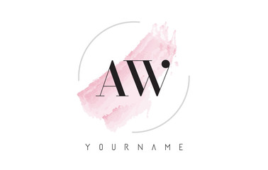 AW A W Watercolor Letter Logo Design with Circular Brush Pattern.