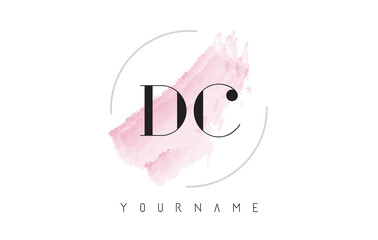 DC D C Watercolor Letter Logo Design with Circular Brush Pattern.