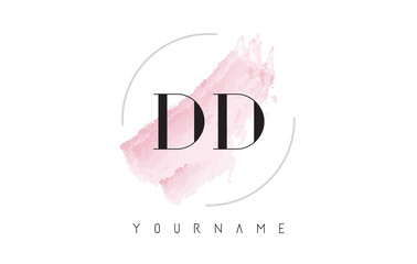 DD D D Watercolor Letter Logo Design with Circular Brush Pattern.