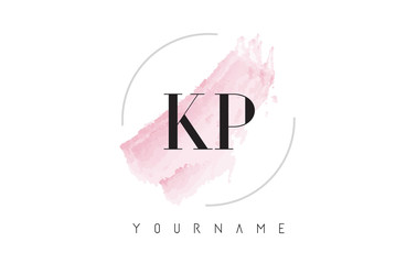 KP K P Watercolor Letter Logo Design with Circular Brush Pattern.
