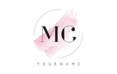 Fototapeta MG M G Watercolor Letter Logo Design with Circular Brush Pattern. obraz