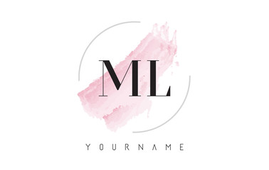 ML M L Watercolor Letter Logo Design with Circular Brush Pattern.