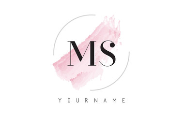 MS M S Watercolor Letter Logo Design with Circular Brush Pattern.