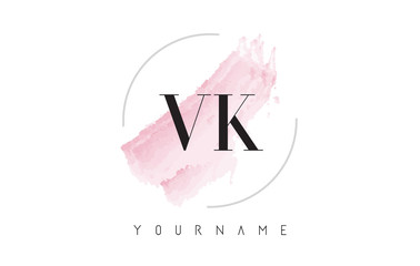 VK V K Watercolor Letter Logo Design With Circular Brush Pattern