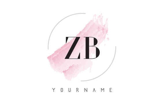 ZB Z B Watercolor Letter Logo Design with Circular Brush Pattern.