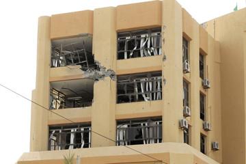A view of the damaged Al-Jumahuriya Bank in the city centre of Zuwarah