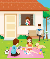 Happy Family Relaxing With Activities At Their Home, House, Building, Landscape, Relationship, Lifestyle