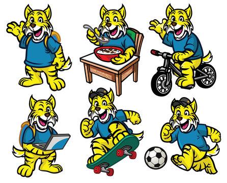 cartoon character set of cute little wildcat