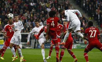 Real Madrid's Ramos scores  against Bayern Munich in Champion's League semi-final second leg soccer match in Munich
