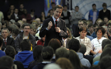 Leader of Britain's Liberal Democrats, Nick Clegg, speaks during a campaign visit at the Frontline Church in Liverpool