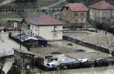 Houses affected by floods after days of heavy rain are seen in the village of Cajdras, near Zenica