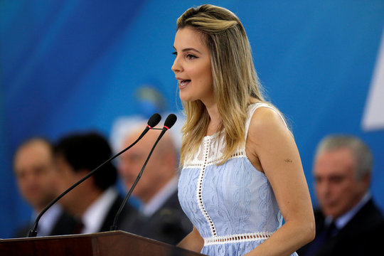 First lady Marcela Temer speaks during a launch ceremony of the Happy Child Program at the Planalto Palace in Brasilia