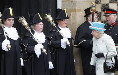 Britain's Queen Elizabeth arrives to visit the Town Hall in King's Lynn in Norfolk