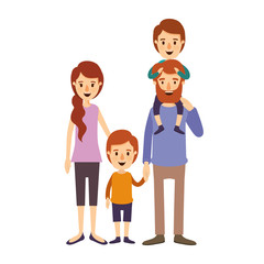 colorful image caricature family parents with boy on his back and girl taken hands vector illustration