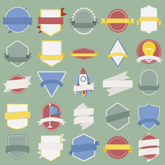 Mixed Set of Light Bulb Spaceship Flag Badges Emblem Label Icon Illustration Vector