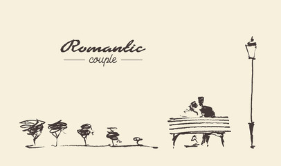 Romantic sketch loving couple bench drawn sketch