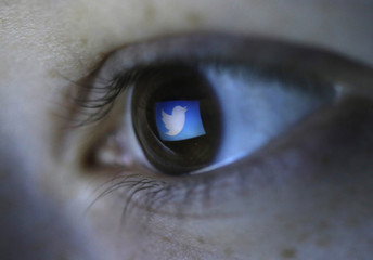 A picture illustration shows Twitter's logo reflected in a person's eye, in central Bosnian town of Zenica