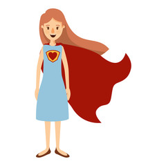 colorful image caricature full body super hero woman with dress and cap vector illustration
