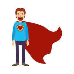 colorful image caricature full body super dad hero with beard vector illustration