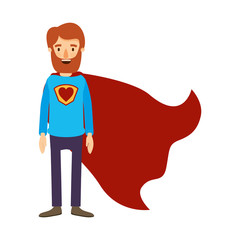 colorful image caricature full body bearded super man hero with heart symbol in uniform vector illustration