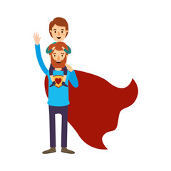 colorful image caricature full body super dad hero with boy on his back vector illustration