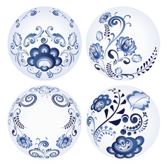 Round Blue Floral Ornaments