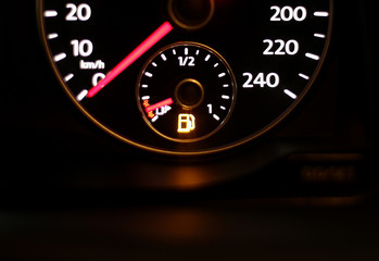 A car fuel display is seen in Rome
