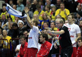 Denmark's coach Wilbek reacts during their Men's Handball World Championship final match against France in Malmo