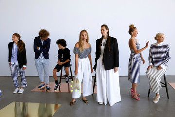 Models pose during a presentation of the J. Crew Spring/Summer 2017 collection during New York Fashion Week in the Manhattan borough of New York