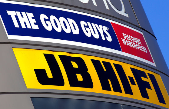 The logos of Australian electronic goods retailers JB Hi-Fi and the privately-held 100-store rival The Good Guys are displayed at a shopping center in Sydney, Australia