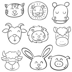 Animal head design of doodle style